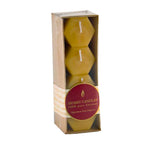 A wonderful package of 4  100% Pure Beeswax Hex Votive candles.