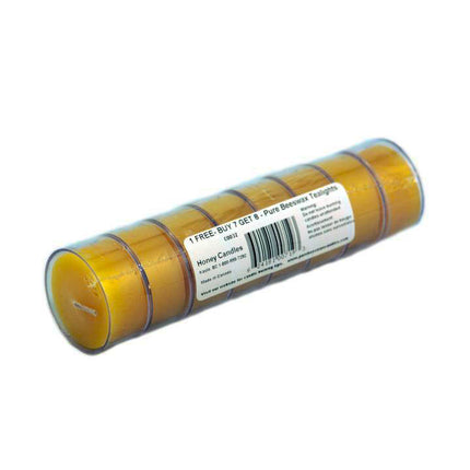 Bonus roll of 8 beeswax tealights in clear cup