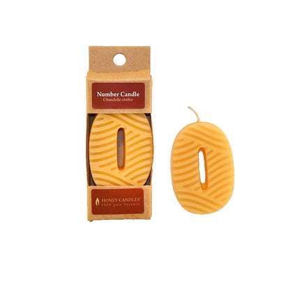 Number 0 Beeswax Candle