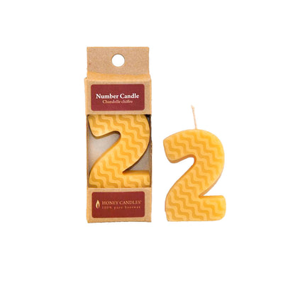 Number 2 Beeswax Candle