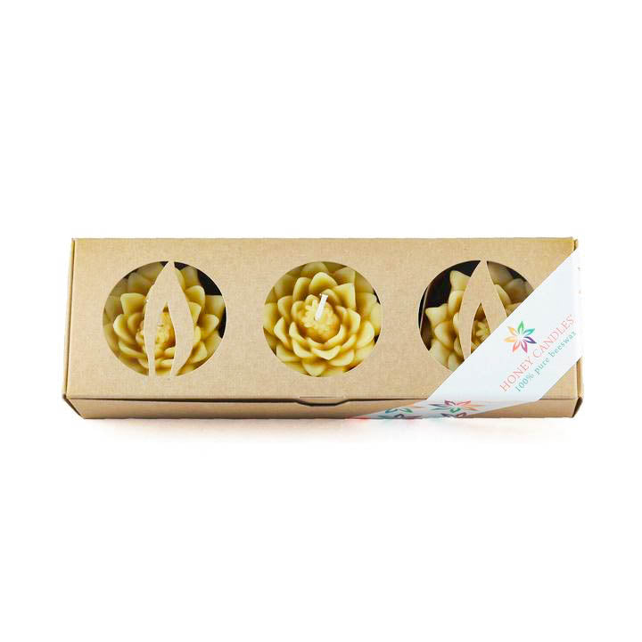 3 pack of natural floating lotus blossom beeswax candles