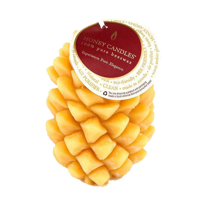 Pine cone beeswax candle in a natural color, wonderful honey aroma