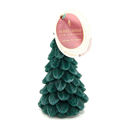 tree shaped beeswax candle in dark green