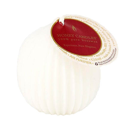 Crisp white fluted sphere beeswax candle