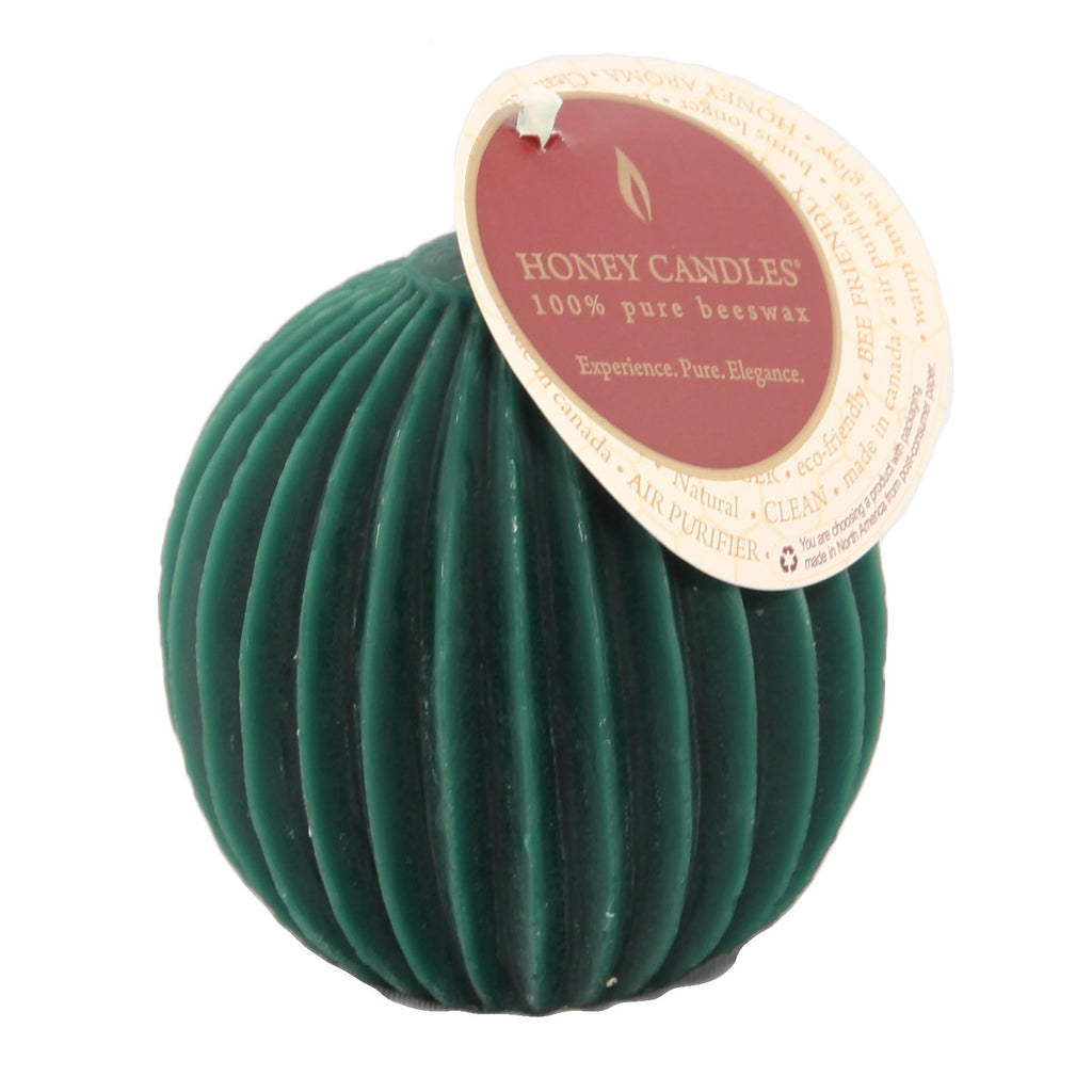Unique dark green fluted sphere beeswax candle