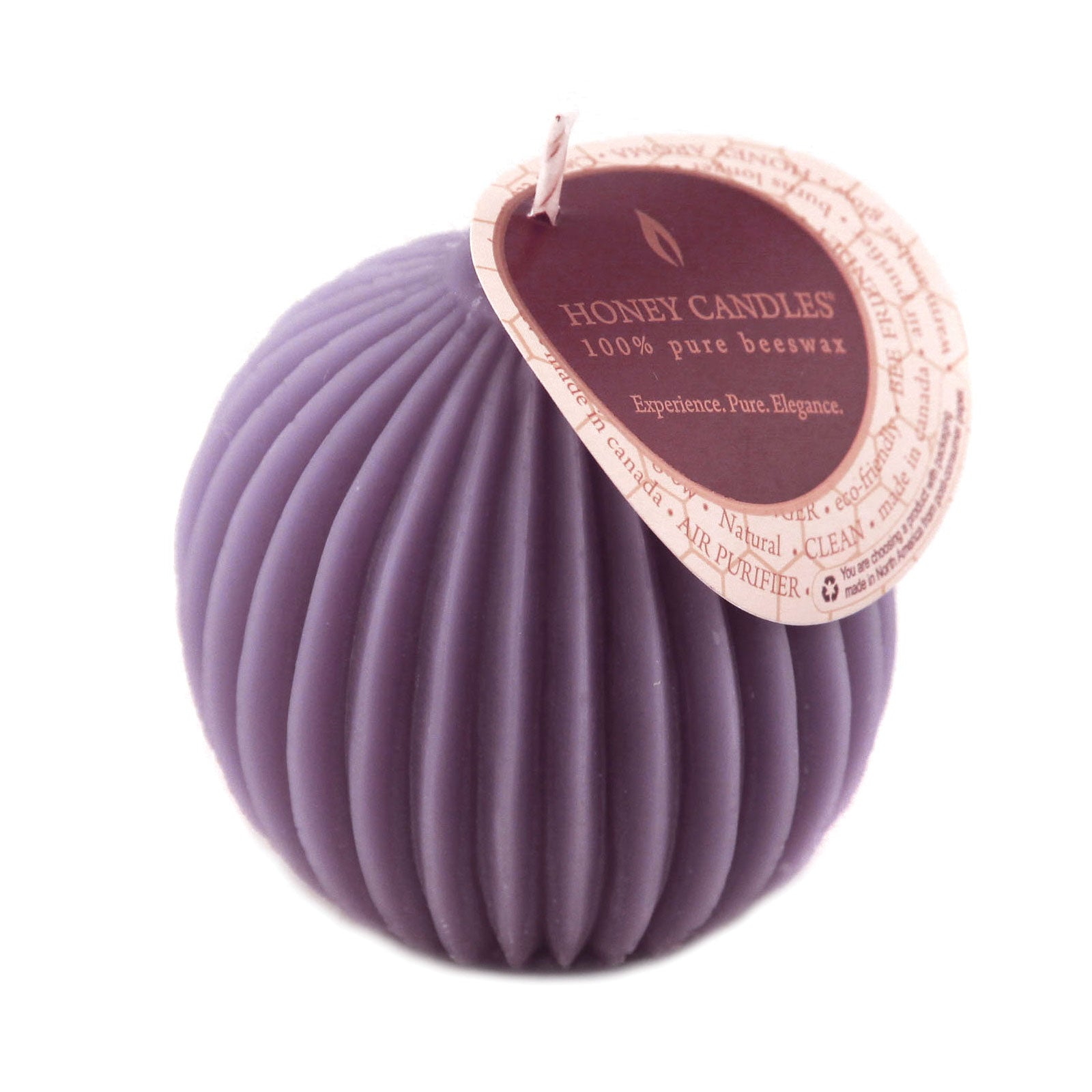 Unique purple colored fluted sphere beeswax candle