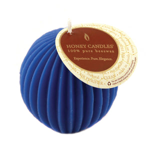 fluted sphere  beeswax blue candle
