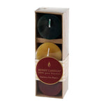 Package of three beautifully colored bees wax votive candles