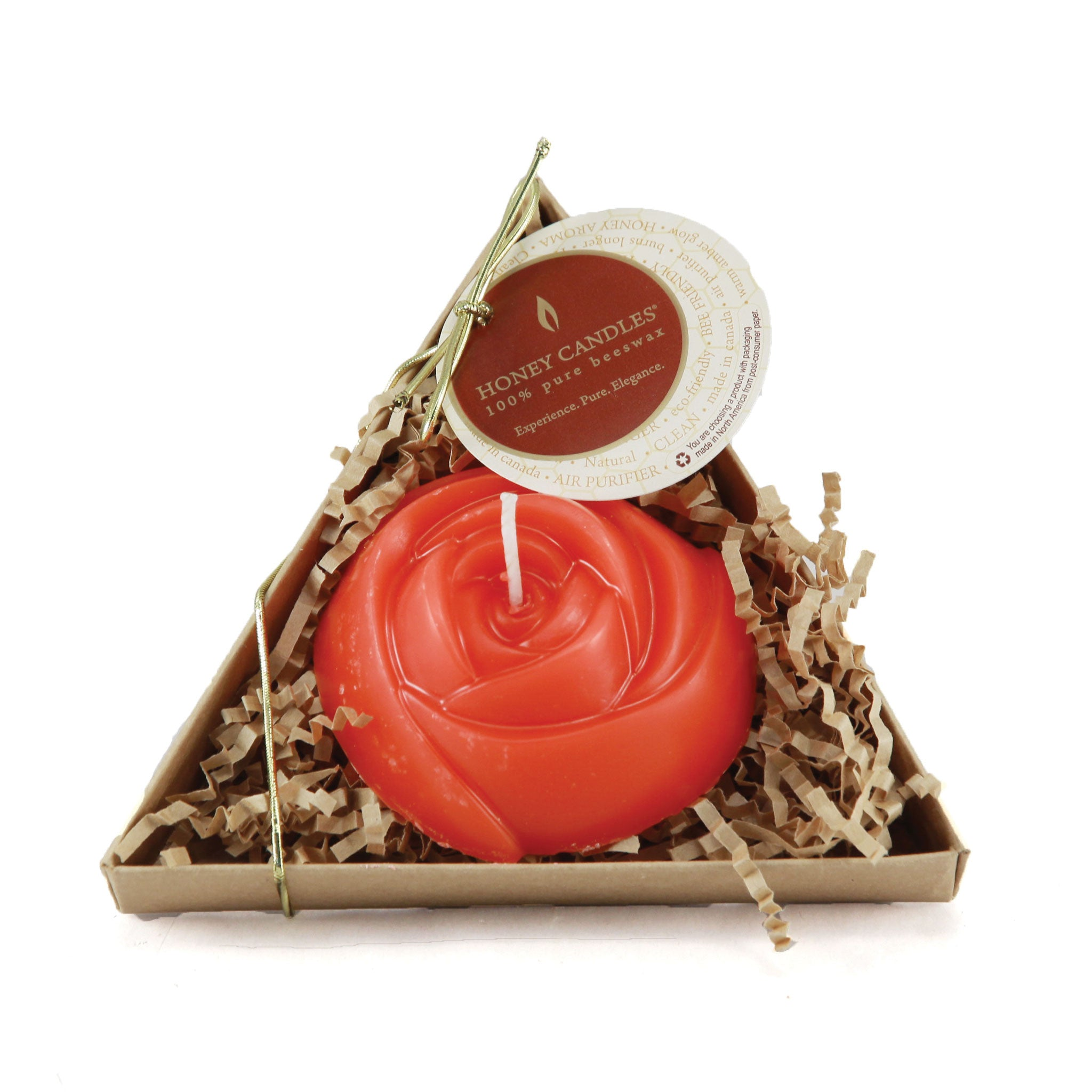 Beautifully shaped red rose candle nestled in a triangle gift box for any occasion