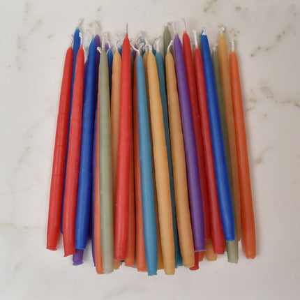 Rainbow coloured chakra beeswax candlesticks