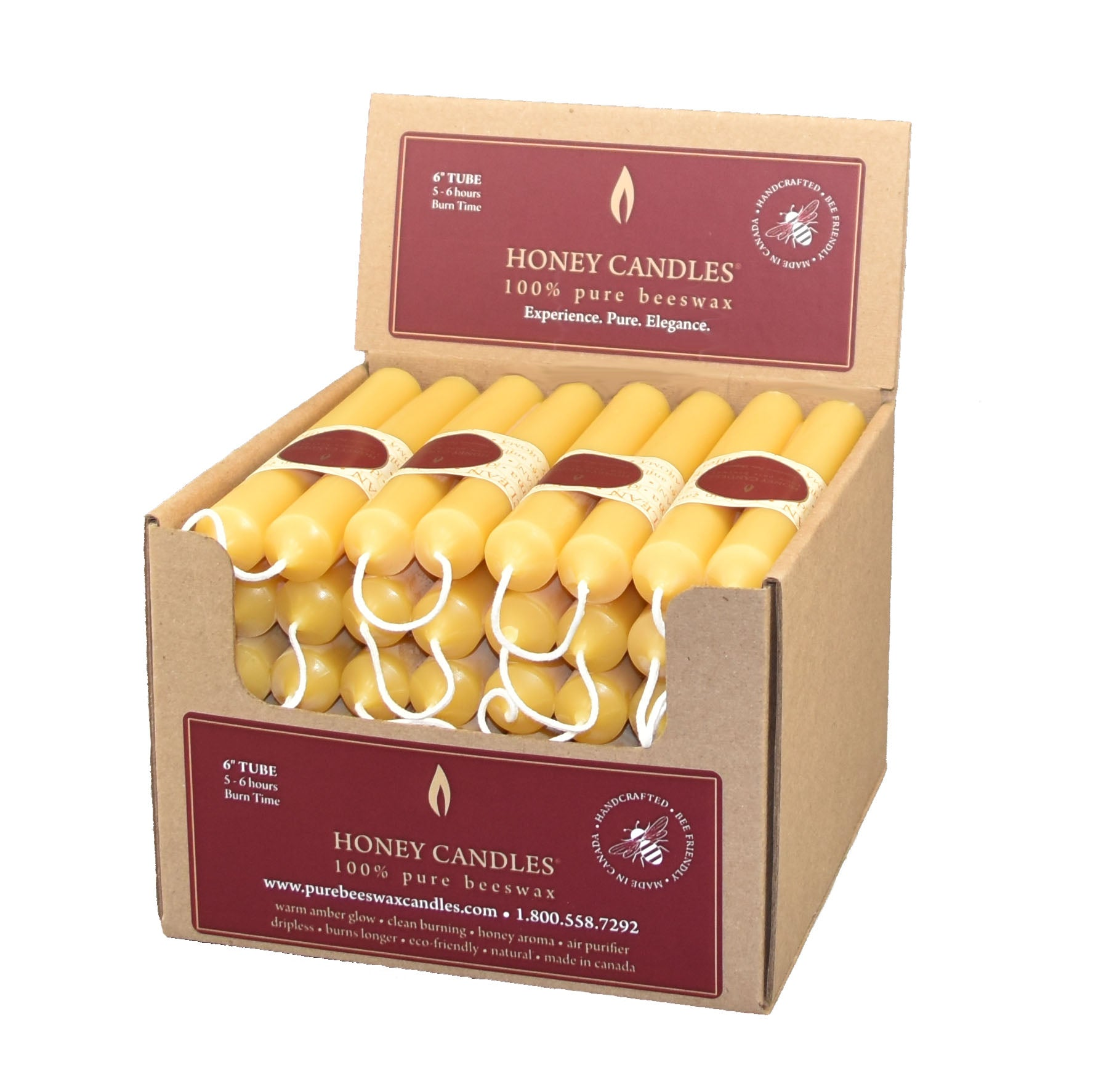 Case of twenty four, beeswax tube candle pairs, in a recyclable cardboard box.
