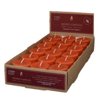 one case of eighteen beeswax votive candles, tangerine in color.