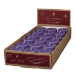 one case of eighteen beeswax votive candles, light purple in color.