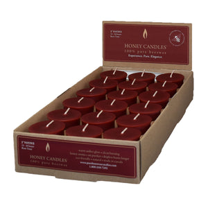 one case of eighteen beeswax votive candles, burgundy in color.