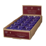 one case of eighteen beeswax votive candles, dark purple in color.