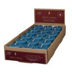 one case of eighteen beeswax votive candles, blue green in color.