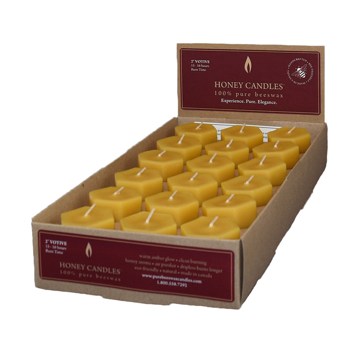 one case of eighteen beeswax votive candles, yellow to golden in color, with a soft honey scent.