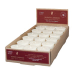 one case of eighteen beeswax votive candles, made from capping wax, white to pearl in color.