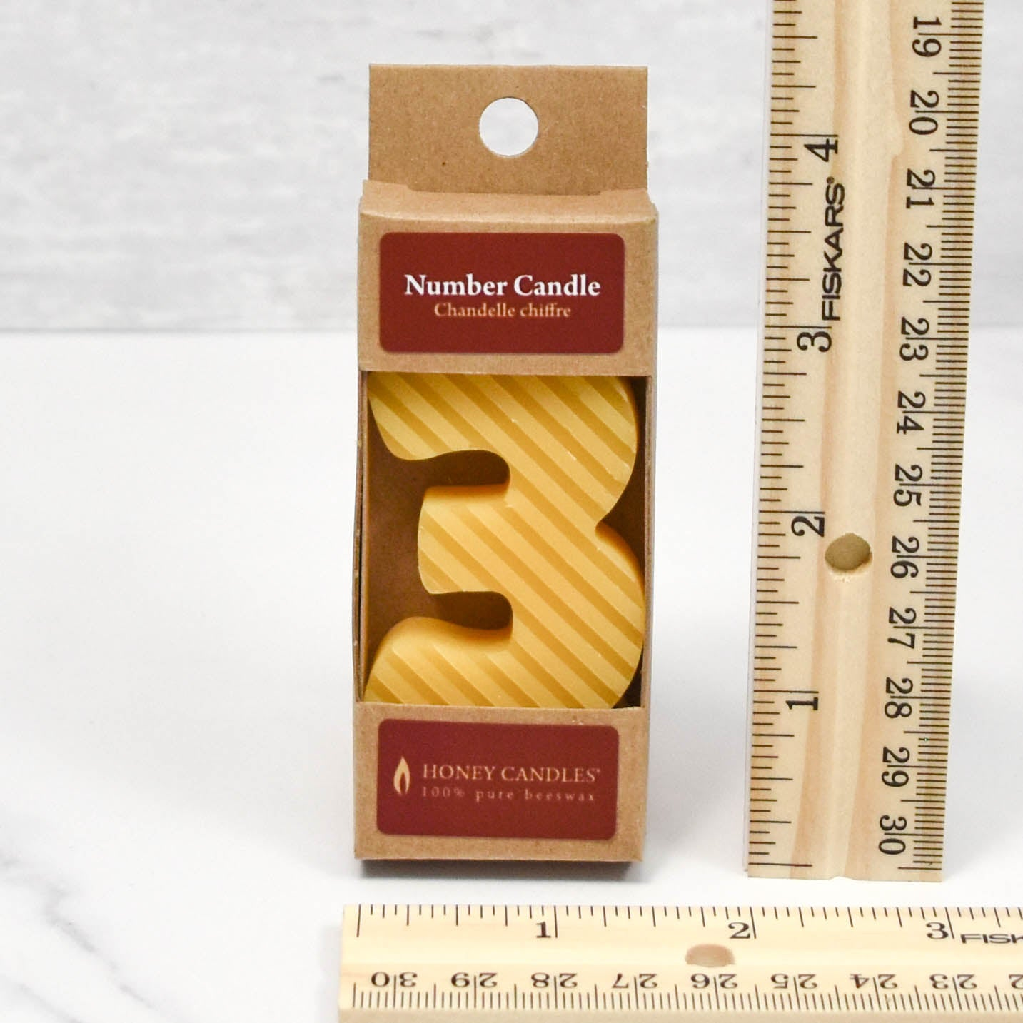 Elegant, pair of formal beeswax candles, 12 inches in height, with a golden to yellow color and a natural soft honey aroma.