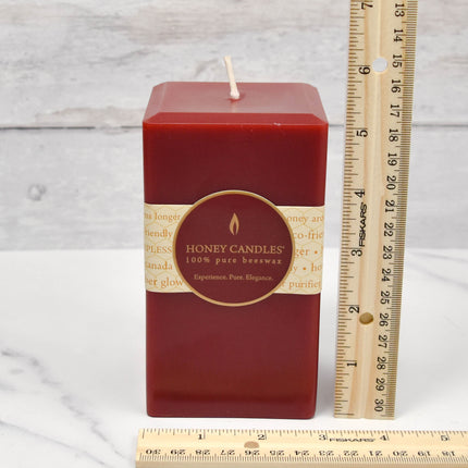 Burgundy Square Pillar Beeswax Candles