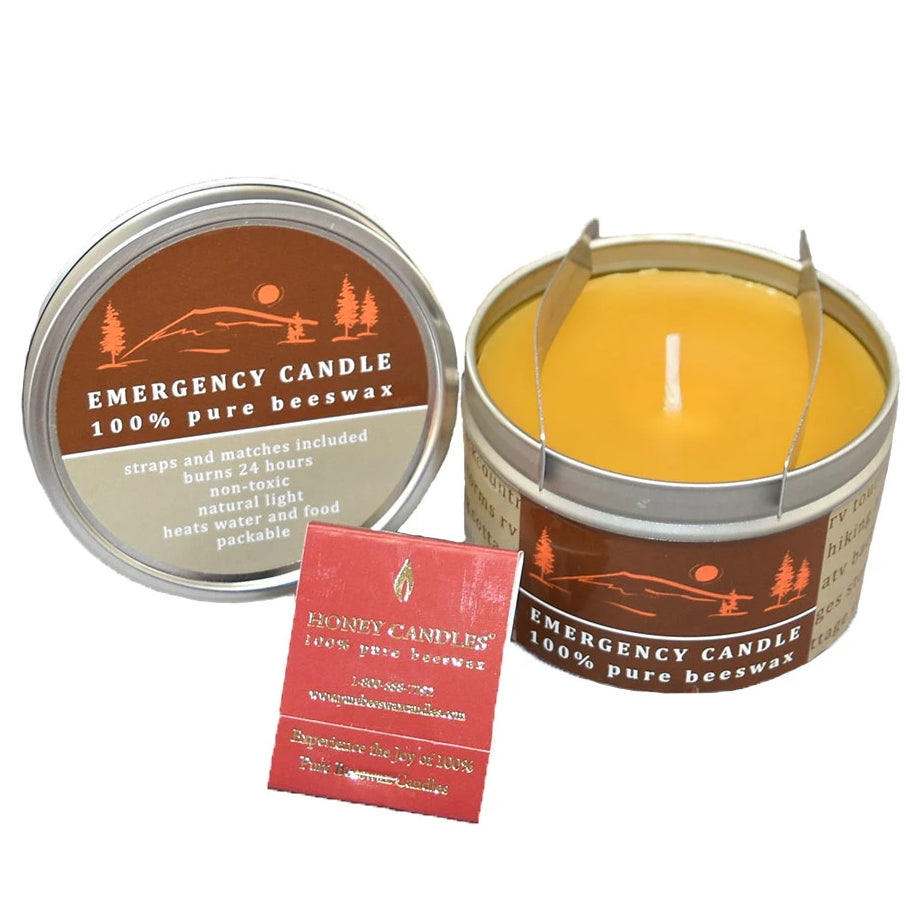 practical beeswax emergency candle in a metal tin with matches
