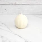 Fluted Sphere Pearl Beeswax Candle