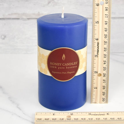Blue Round Pillar Beeswax Candles