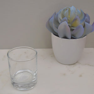Votive candle glass cup for beeswax votive candles