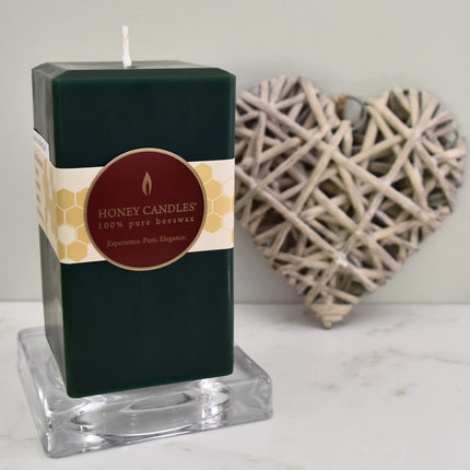 Green square beeswax pillar candle perfect for relaxing evenings