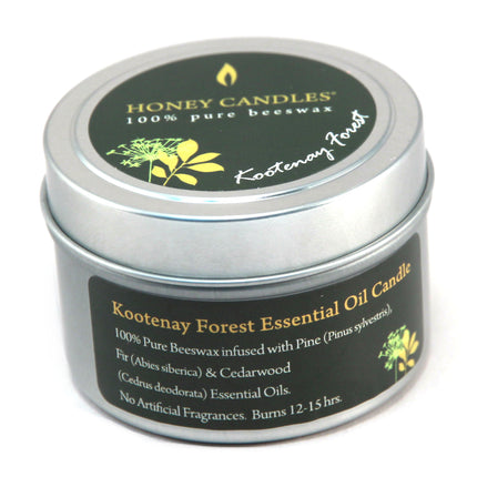 Essential oil Kootenay Forest beeswax candle in a metal tin