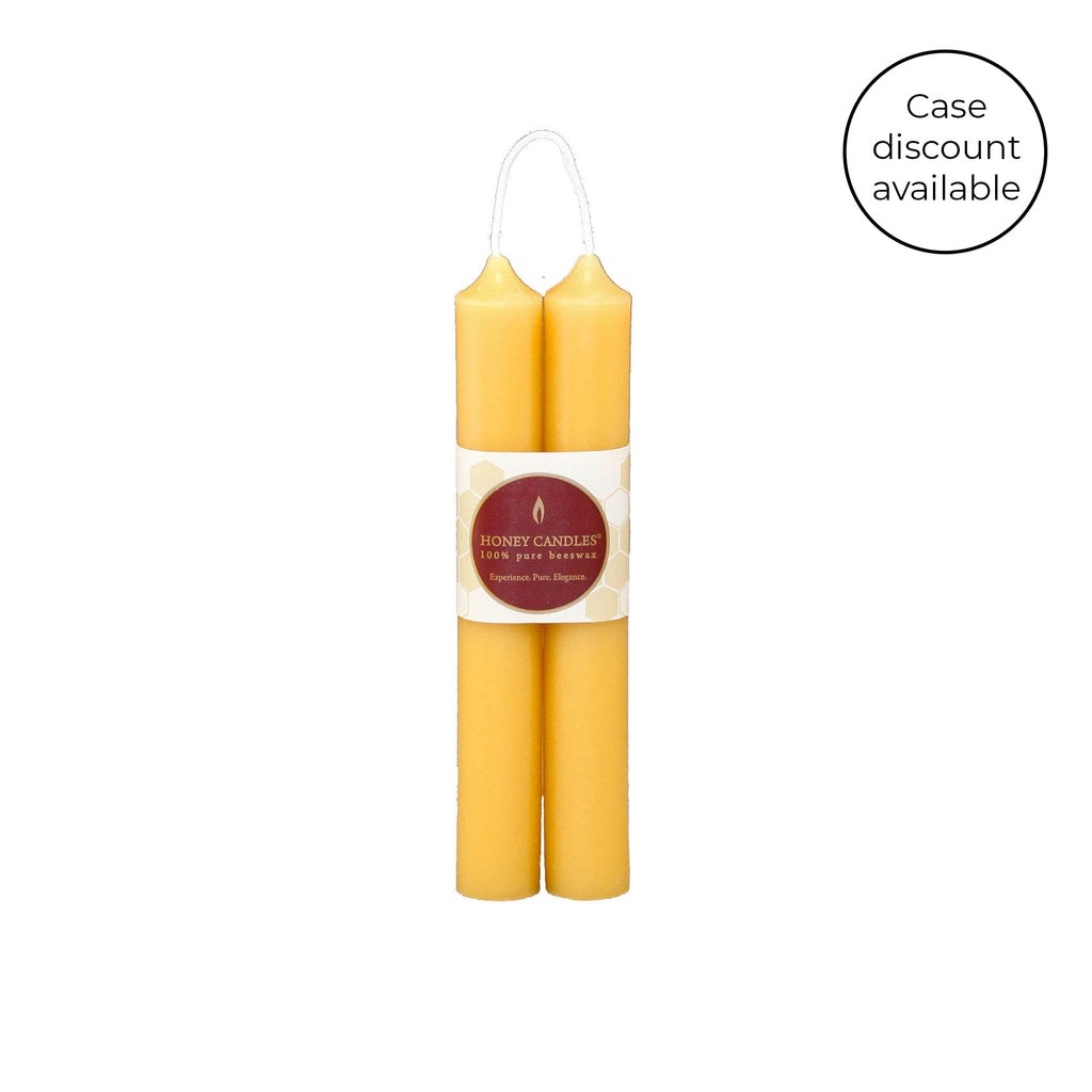 6 Inch Natural Tube Pair Beeswax Candles