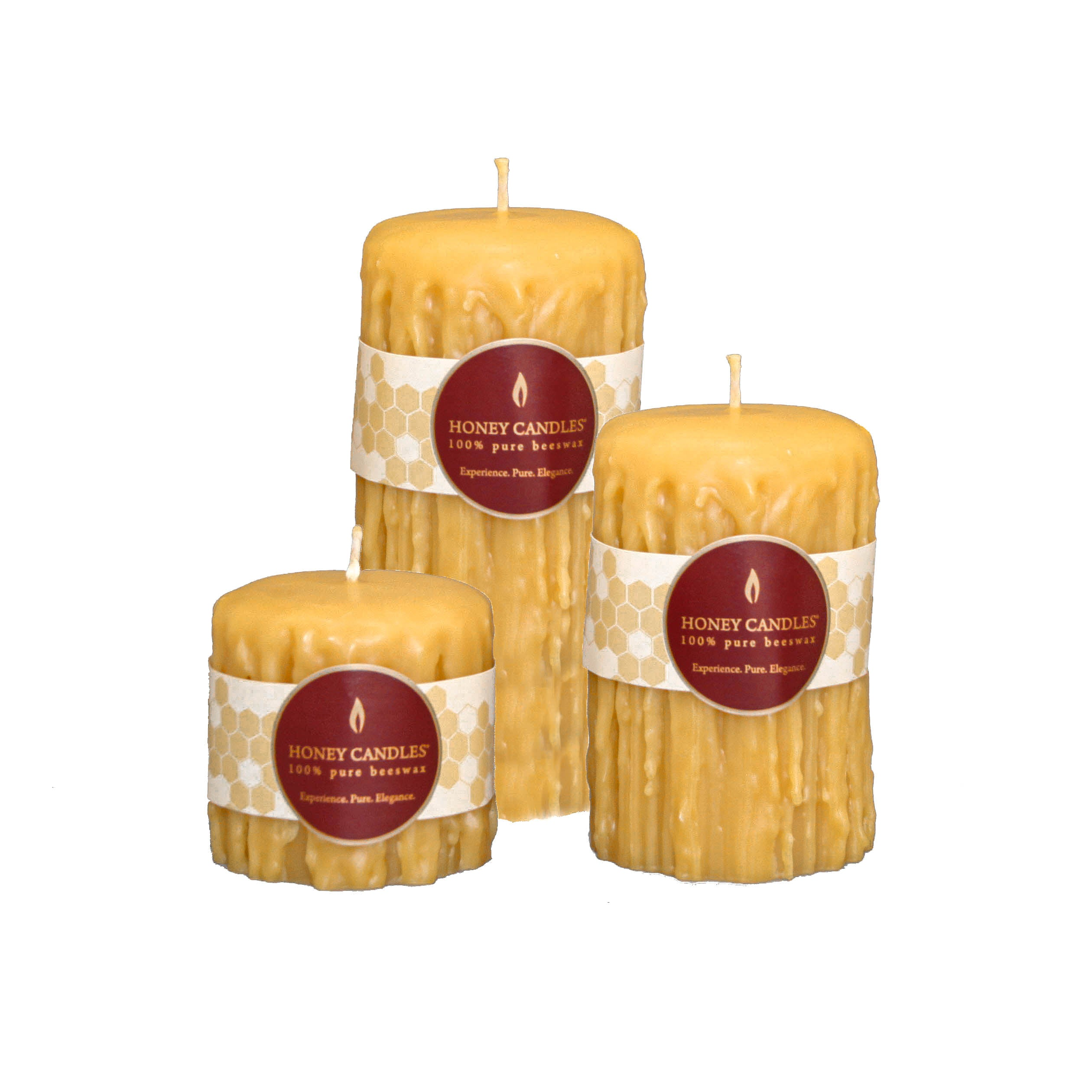 3 unique heritage dipped round pillar candles in beautiful honey color