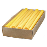 one case, containing twenty four, elegant taper candles, yellow to golden color, and a soft honey aroma.