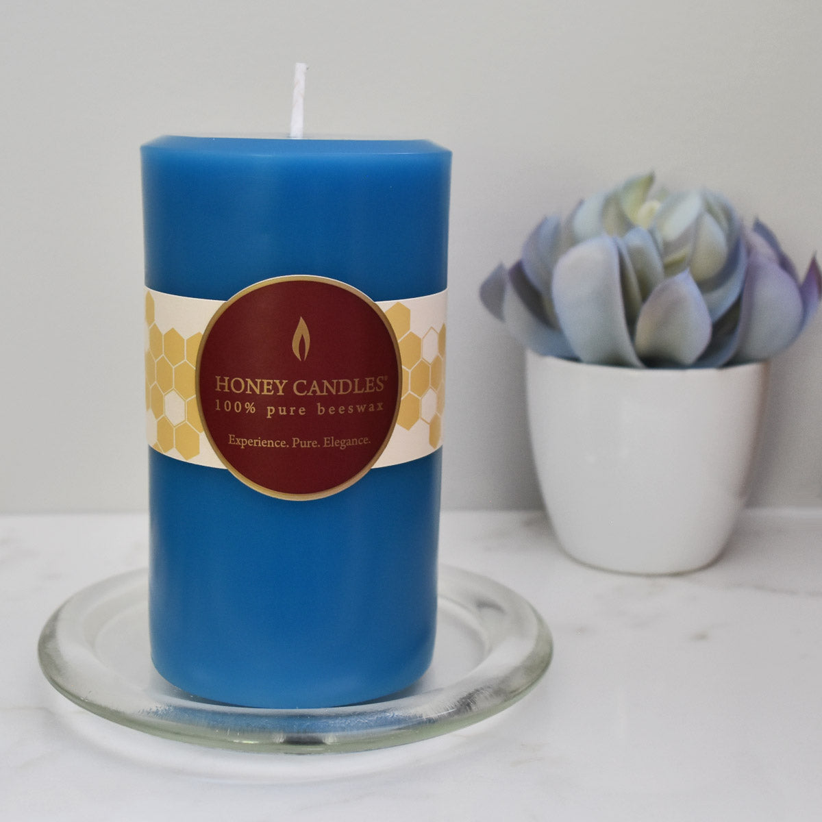 Teal blue natural beeswax pillar candle made from pure Canadian beeswax