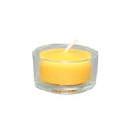 natural beeswax tealight in a clear glass cup