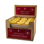 one case of eighteen beeswax votive candles, golden yellow in color, with a honey scent.