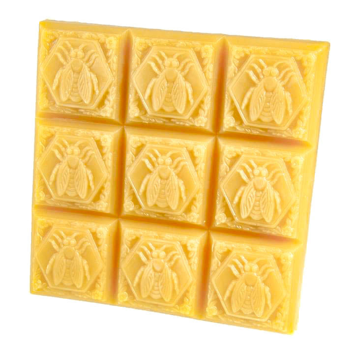 1.8 pound block of 100% beeswax with a unique Napoleonic bee pattern