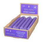 A case of twelve, violet, Advent, beeswax candles, in a honey candles, point of purchase box.