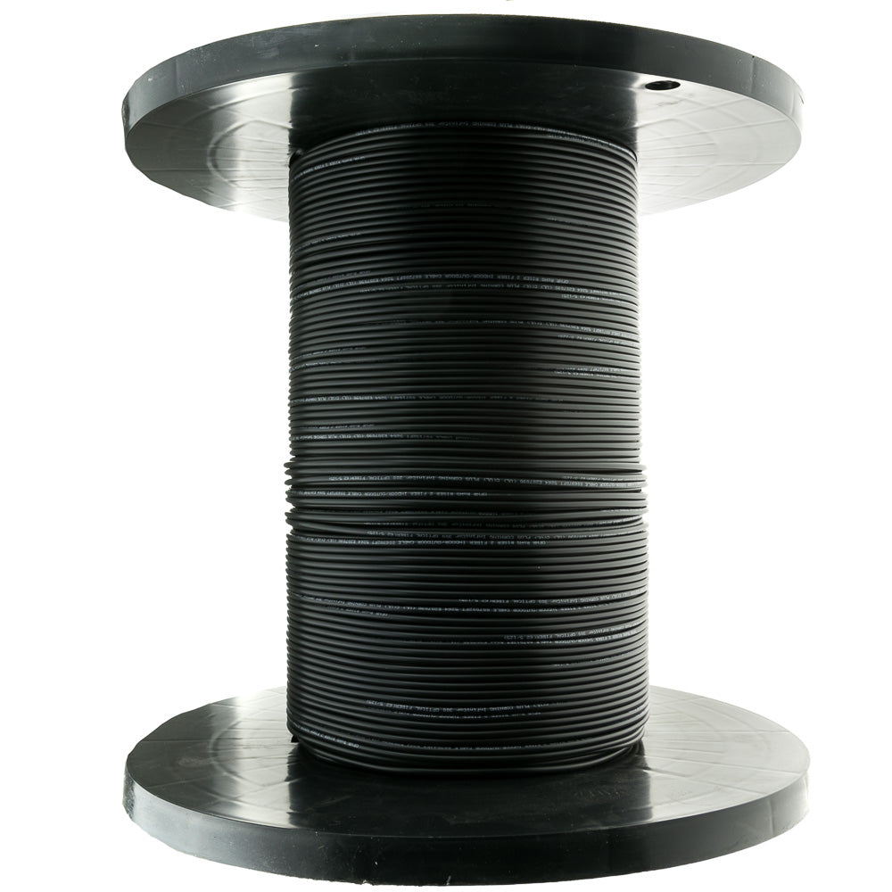 Indoor/Outdoor Fiber Optic Cable, Singlemode, 9/125, Black Riser Rated Spool 1000 foot