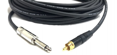 75ft Pro Audio 1/4 inch Mono TS to RCA Male Cable