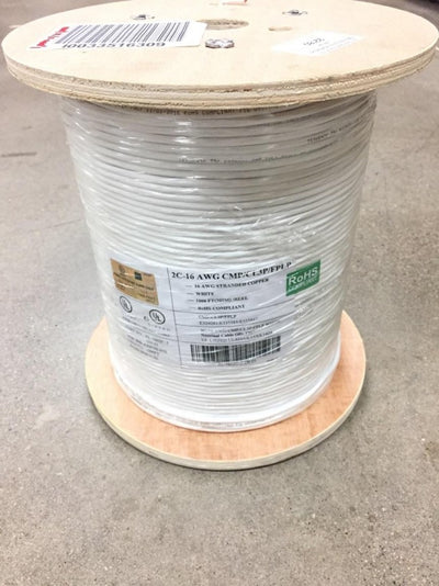 16 AWG 2 Conductor Plenum CMP Speaker Cable 500ft Spool