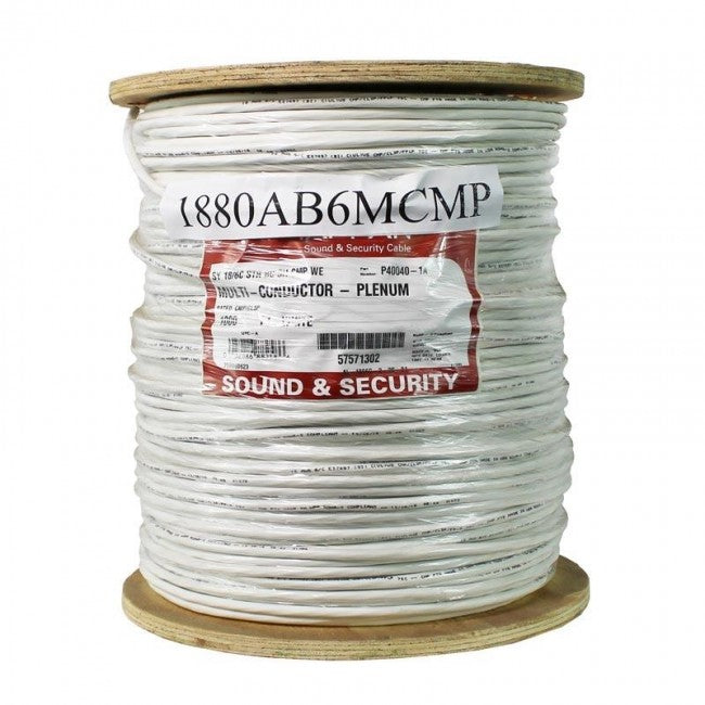 18 AWG 6 Conductor Shielded Plenum White, Sound/Security Alarm - 500 Foot Spool