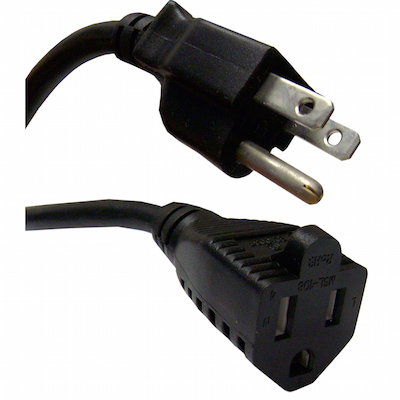 1 Feet 18 AWG Outlet Saver Power Extension Cord