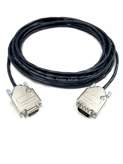 DB9 Male to Female 22 AWG Plenum White Jacket Serial Cable Made in USA