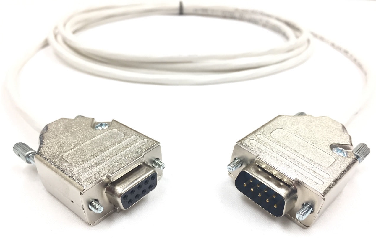 DB9 Male to Female 22 AWG Plenum White Jacket Serial Cable - Only Pins 2, 3 and 5 Wired