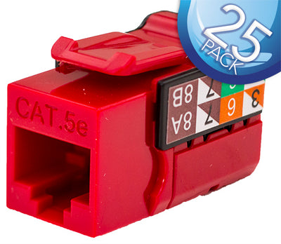CAT5E Data Grade Keystone Jack 8x8- Red - 25 Pack