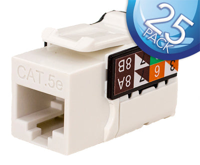 CAT5E Data Grade Keystone Jack 8x8 - White - 25 Pack