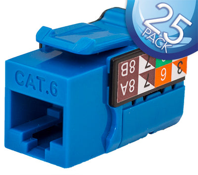 CAT6 Data Grade Keystone Jack 8x8 - Blue - 25 Pack