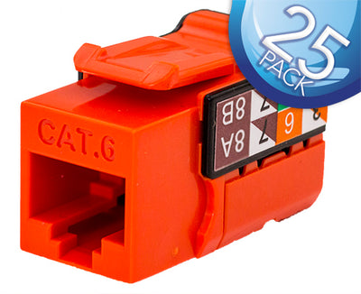 CAT6 Data Grade Keystone Jack 8x8 - Red - 25 Pack