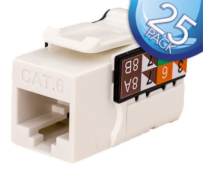 CAT6 Data Grade Keystone Jack 8x8 - White - 25 Pack
